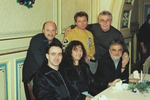 Nicu Alifantis, Doru Căplescu, Virgil Popescu, Răzvan Mirică, Sorin Voinea, Relu Biţulescu în decembrie 2001 (arhivă Virgil Popescu)