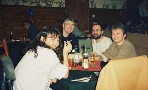 Sorin Voinea, Virgil Popescu, Petre Cotarcea şi Doru Căplescu în 2002 (arhivă Virgil Popescu)