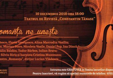 """Spectacolul-concert ROMANTA NE UNESTE, la Teatrul de Revista """"Constantin Tanase"""""""