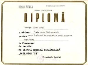 "Diploma pentru Debut componistic, obtinuta in cadrul Festivalului de Muzica Usoara ""Melodii'81"". Arhiva personala a Corinei Chiriac."
