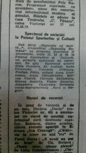 """Anunt cu spectacolele de la Sala Polivalentă, preluat din ziarul """"Informaţia Bucureştiului"""", devenit """"Libertatea"""", după 22 decembrie 1989"""