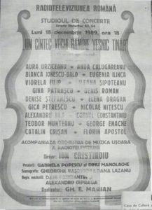 """Afiş cu spectacolul de la Sala Radio din 18 decembrie 1989, preluat din cartea """"Alexandru Jula"""" (editura Biblioteca Bucureştilor, 2012), scrisă de Oana Georgescu."""