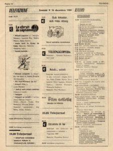 Programul TVR - 16 decembrie 1989