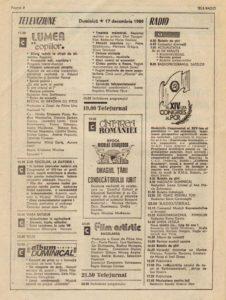 Programul TVR - 17 decembrie 1989